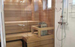 Lämpökäsitelty haapa kestää kuumuutta ja kosteutta, ja siksi sopii hyvin saunaan ja kylpyhuoneeseen. Lumitrendi.